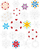 Ornaments and flowers. Stacked geometric shapes Royalty Free Stock Photos