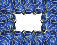 Ornaments frame. Christmas ornaments with silver shine. Frame made of Christmas balls stock photos