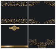 Ornaments gold on black Royalty Free Stock Images