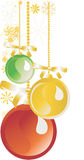 Ornaments Gold, Green And Red On White Royalty Free Stock Photography