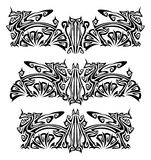 Ornaments with griffins. Mixed design of two styles: tribal and modern Stock Images