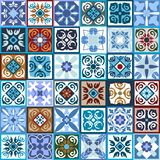 Glazed ceramic mosaic with Moroccan, Spanish, Portuguese motifs. Stock Images