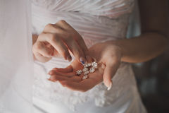Ornaments in hands. Royalty Free Stock Images