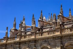 Ornaments la Giralda Cathedral in Seville, Spain. Decorative turrets la Giralda Cathedral in Seville, Spain Stock Photo
