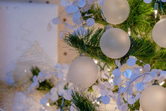Ornaments and lights on a Holiday Christmas Tree Royalty Free Stock Photography