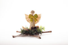 Ornaments made of straw in the form of an angel. Figure Ornaments made of straw in the form of an angel Stock Image