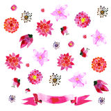 Ornaments with painted red flowers Stock Images