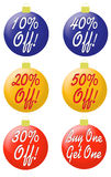 Ornaments with percentage off type. 6 red, yellow and blue Christmas ornaments with 10, 20, 30, 40 and 50 percent off printed on them. The sixth one has the Stock Photos