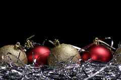 Ornaments with tinsel stock photo