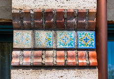 Ornaments used in old sicilian and italian ceramic tiles stock image