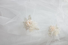 Ornaments of a wedding dress. Fragment of a wedding dress with ornaments Stock Photo