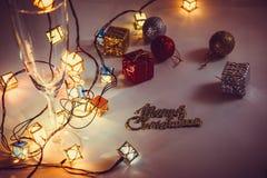Ornamentu i bożych narodzeń rzecz dekoruje w świętej nocy Zdjęcie Royalty Free