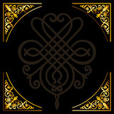 ornamentu kwiecisty ramowy złocisty rocznik Fotografia Royalty Free