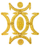 Ornamentuje ramowych złotych sztukateryjnych dekoracja elementy na bielu Obraz Stock