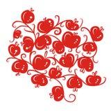 Ornamnet floral com as maçãs vermelhas para seu projeto Foto de Stock Royalty Free
