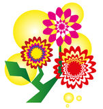 Ornate abstract flowers - vector illustration Royalty Free Stock Photos