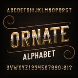 Ornate alphabet font. Golden effect letters and numbers with diamonds. stock illustration