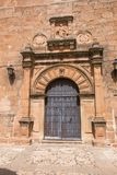 Ornate ancient door of Church San Mateo in Banos de la Encina vi Royalty Free Stock Photo