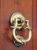 Polished Brass Door Knocker, Rome, Italy royalty free stock photo