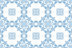 Ornate azulejo styled tiles with seaside theme. Starfish and shells. Marine theme in blue color. Vector illustration. Royalty Free Stock Photo