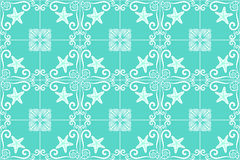 Ornate azulejo styled tiles with seaside theme in turquoise. Starfish and shells. Marine theme in blue color. Vector illustration. Stock Photo