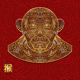 Ornate background with golden monkey head. Chinese hieroglyphs is translated as a monkey. Red seamless Backdrop. It can be used fo Stock Photos