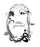Ornate background in retro style. Black and white vector holiday background with wild ash - ready to place your art or text Stock Images