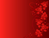 Ornate background with roses and heart shapes. Stock Images