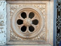 Marble Wheel Window, St Mark`s Basilica, Venice, Italy. An ornate bas relief marble wheel spoke window, Saint Mark`s Basilica, Cathedral, San Marco Basilica Stock Photography