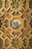 Ornate Basilica Ceiling. This ceiling is in the Basilica of Our Lady in Trastevere (Santa Maria in Trastevere) in Rome. Photo taken April 2015 Royalty Free Stock Images