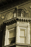 Ornate bay window. Sepia bay window lots of ornate detail Stock Images