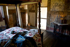 Ornate bedroom in a tudor manor, UK Stock Images