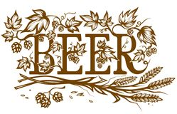 Ornate beer lable Stock Images