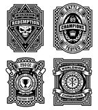 Ornate black and white emblem t-shirt graphics. Various ornate black and white emblem graphics suitable for multiple uses Stock Photos