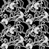Ornate black and white repeating tile Stock Photos