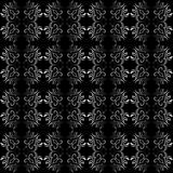 Ornate black and white seamless wallpaper   patter Royalty Free Stock Photo
