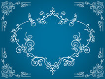 Ornate blue cartouche with filigree frame Royalty Free Stock Photo