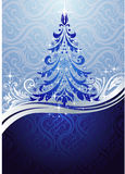 Ornate blue Christmas tree stock illustration