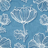 Ornate blue cutout paper floral vector background Stock Photo