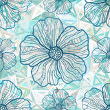 Ornate blue flowers on abstract triangles Royalty Free Stock Image