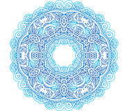 Ornate blue lacy vector circle pattern Stock Images