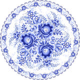 Ornate blue plate in gzhel style Royalty Free Stock Photography