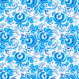 Ornate blue and white floral vector pattern Stock Image