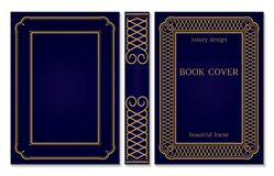 Ornate Book Cover And Spine Design. Old Retro Ornament Frames. Royal Golden And Dark Blue Style Design. Vintage Border To Be Royalty Free Stock Photography