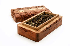 Ornate box with Darjeeling Tea Royalty Free Stock Photo