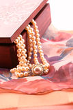 Ornate box and pearl necklace detail Royalty Free Stock Images