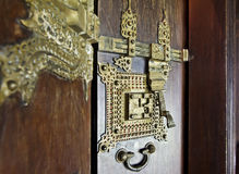 Ornate brass door furniture Royalty Free Stock Photos