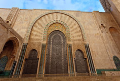 Ornate brass door of Hassan II Mosque Royalty Free Stock Photography