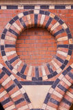 Ornate Brickwork. Detail from a former grain store built in the mid-nineteenth century in central Bristol UK Stock Photo