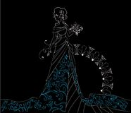 Ornate Bride  Silhouette hand drawing with bouquet Royalty Free Stock Image